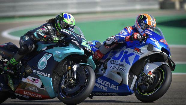 Alex Rins dan Franco Morbidelli di MotoGP Aragon 2020.