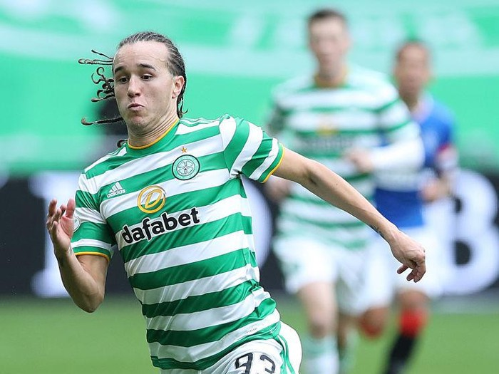 GLASGOW, SCOTLAND - OCTOBER 17: Diego Laxalt of Celtic is seen in action during the Ladbrokes Scottish Premiership match between Celtic and Rangers at Celtic Park on October 17, 2020 in Glasgow, Scotland. Sporting stadiums around the UK remain under strict restrictions due to the Coronavirus Pandemic as Government social distancing laws prohibit fans inside venues resulting in games being played behind closed doors. (Photo by Ian MacNicol/Getty Images)