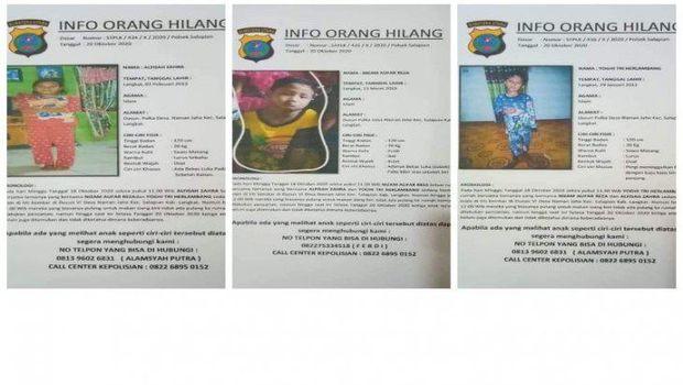 Foto 3 anak yang hilang misterius di Langkat (ANTARA)