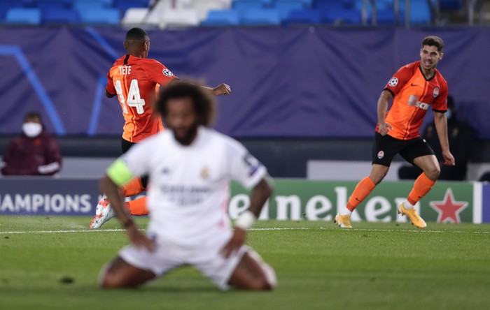 Shakhtars Tete celebrates after scoring his sides opening goal during the Champions League, group B soccer match between Real Madrid and Shakhtar Donetsk at Alfredo di Stefano stadium in Madrid, Spain, Wednesday, Oct. 21, 2020. (AP Photo/Manu Fernandez)