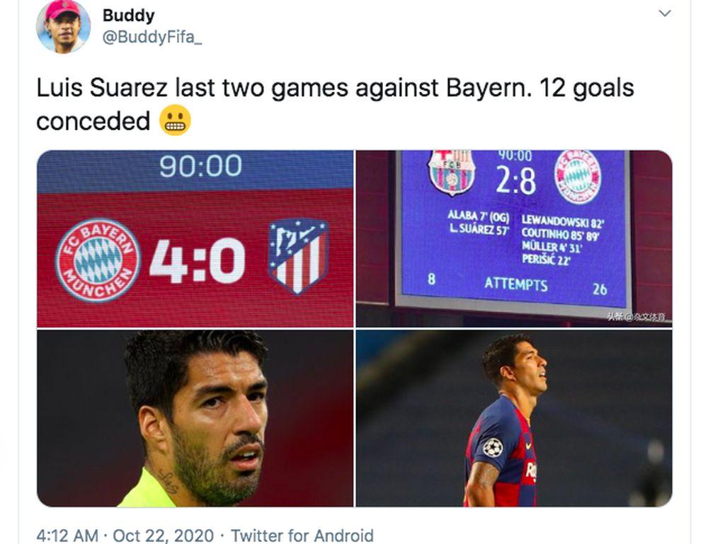 Atletico Dibantai Bayern, Luis Suarez Habis Jadi Ejekan