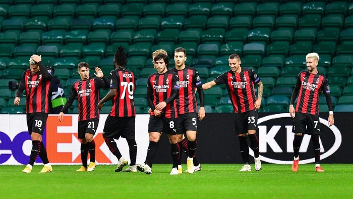 GLASGOW, SCOTLAND - OCTOBER 22: Brahim Diaz of AC Milan celebrates after scoring his sides second goal during the UEFA Europa League Group H stage match between Celtic and AC Milan at Celtic Park on October 22, 2020 in Glasgow, Scotland. Sporting stadiums around the UK remain under strict restrictions due to the Coronavirus Pandemic as Government social distancing laws prohibit fans inside venues resulting in games being played behind closed doors. (Photo by Mark Runnacles/Getty Images)