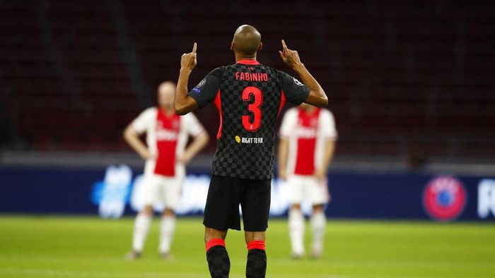 Liverpools Fabinho reacts during the group D Champions League soccer match between Ajax and Liverpool at the Johan Cruyff ArenA in Amsterdam, Netherlands,Wednesday, Oct. 21, 2020. Liverpool won the match 1-0. (AP Photo/Peter Dejong)