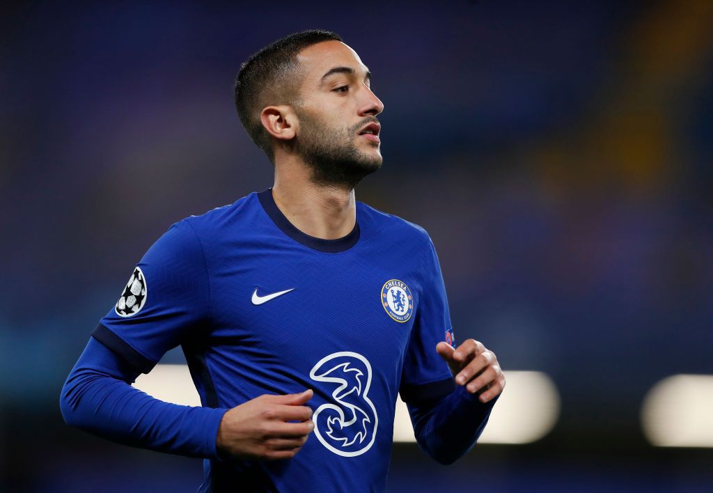 LONDON, ENGLAND - OCTOBER 20: Hakim Ziyech of Chelsea looks on during the UEFA Champions League Group E stage match between Chelsea FC and FC Sevilla at Stamford Bridge on October 20, 2020 in London, England. Sporting stadiums around the UK remain under strict restrictions due to the Coronavirus Pandemic as Government social distancing laws prohibit fans inside venues resulting in games being played behind closed doors. (Photo by Alastair Grant - Pool/Getty Images)