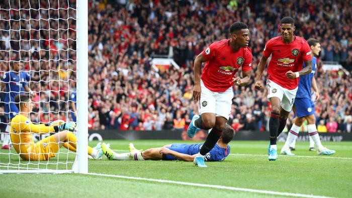 MANCHESTER, ENGLAND - AUGUST 11: Anthony Martial of Manchester United celebrates after scoring his teams second goal during the Premier League match between Manchester United and Chelsea FC at Old Trafford on August 11, 2019 in Manchester, United Kingdom. (Photo by Julian Finney/Getty Images)