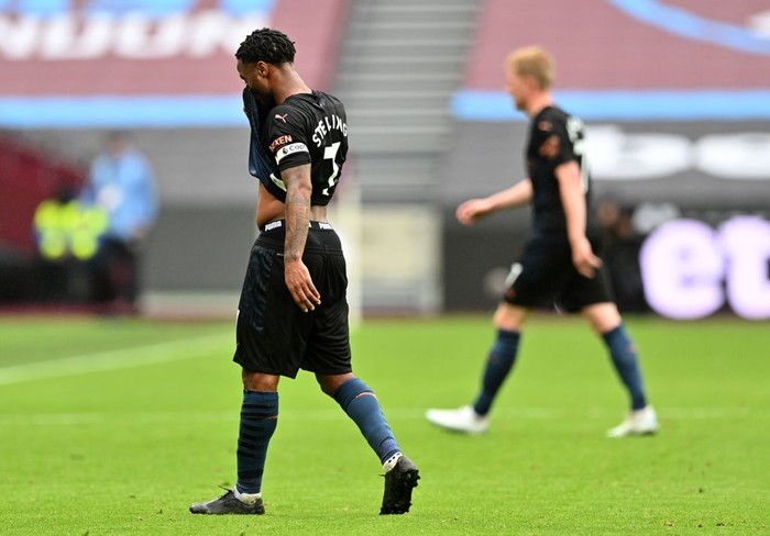 LONDON, ENGLAND - OCTOBER 24: Raheem Sterling of Manchester City reacts after the Premier League match between West Ham United and Manchester City at London Stadium on October 24, 2020 in London, England. Sporting stadiums around the UK remain under strict restrictions due to the Coronavirus Pandemic as Government social distancing laws prohibit fans inside venues resulting in games being played behind closed doors. (Photo by Justin Tallis - Pool/Getty Images)