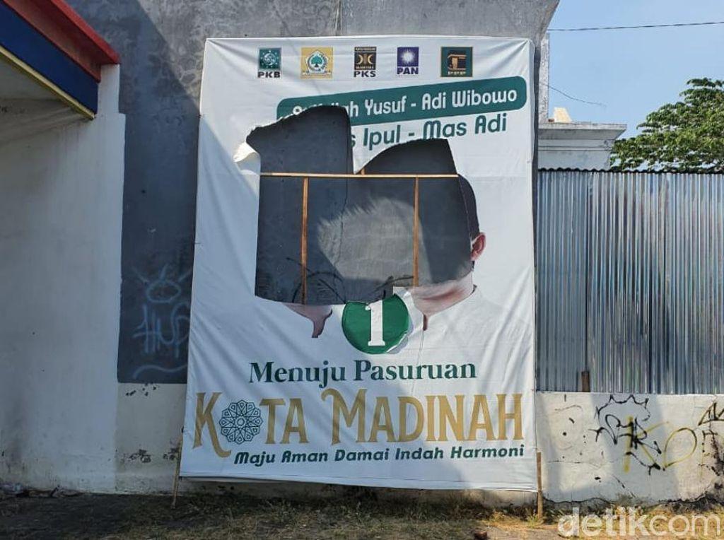 Bawaslu Pasuruan Hentikan Proses Laporan Perusakan Baliho Gus Ipul-Mas Adi
