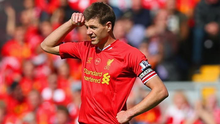 LIVERPOOL, ENGLAND - APRIL 27: Steven Gerrard of Liverpool looks on during the Barclays Premier League match between Liverpool and Chelsea at Anfield on April 27, 2014 in Liverpool, England.  (Photo by Clive Brunskill/Getty Images)
