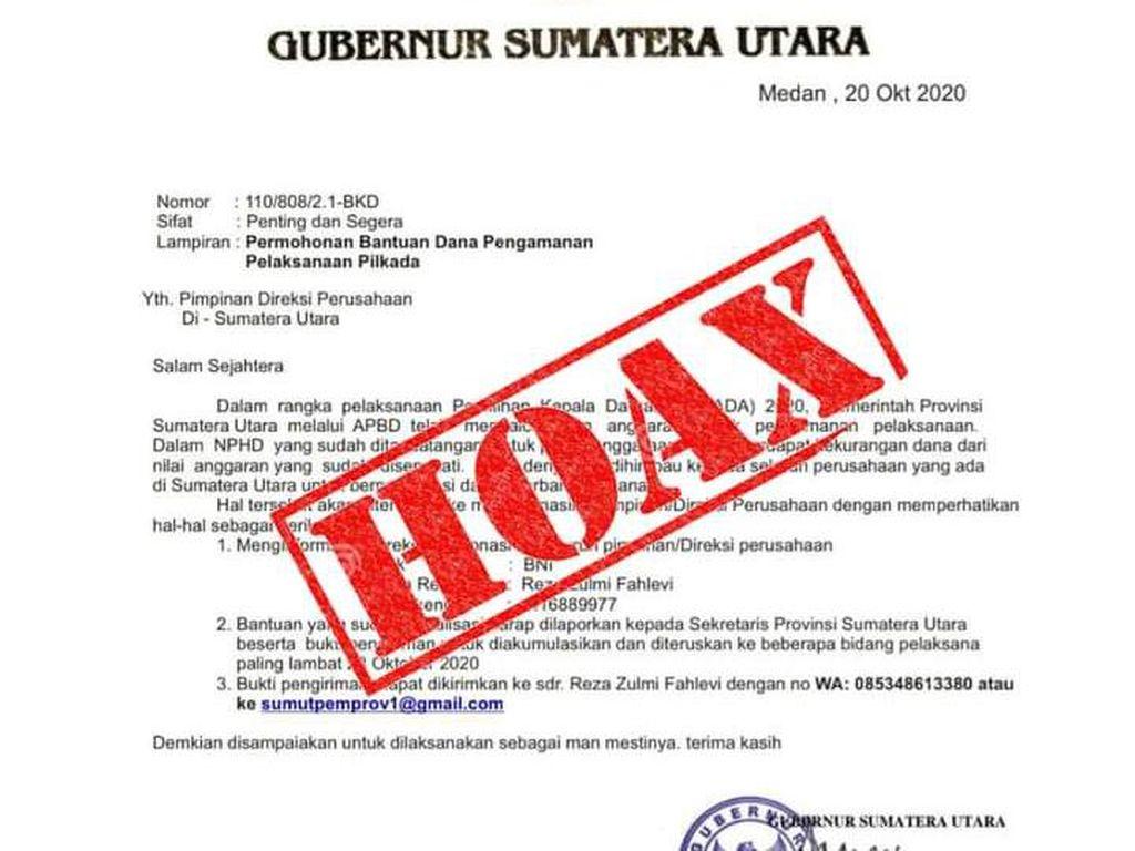 Pemprov Pastikan Surat Gubsu Minta Dana Pengamanan Pilkada ke Perusahaan Hoax