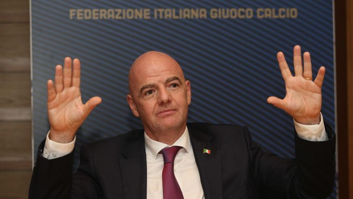 ROME, ITALY - SEPTEMBER 09:  FIFA President Gianni Infantino speaks during the FIGC press conference on September 9, 2020 in Rome, Italy.  (Photo by Paolo Bruno/Getty Images)