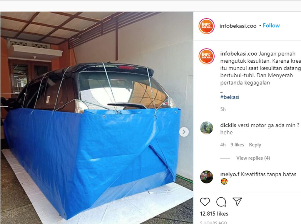 Kreatif! Mobil Anti-Banjir Dibungkus Terpal, Netizen: Kayak Nasi Uduk