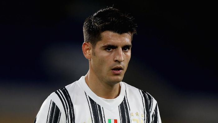 Alvaro Morata during the Serie A match between AS Roma and Juventus at Stadio Olimpico on September 27, 2020 in Rome, Italy.