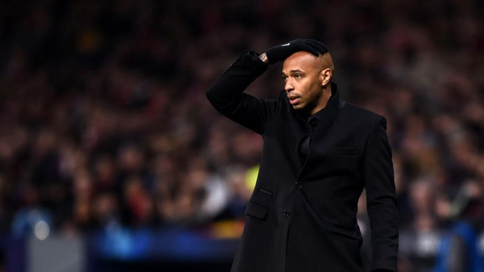 MADRID, SPAIN - NOVEMBER 28:  Thierry Henry, Manager of Monaco reacts during the UEFA Champions League Group A match between Club Atletico de Madrid and AS Monaco at Estadio Wanda Metropolitano on November 28, 2018 in Madrid, Spain.  (Photo by Denis Doyle/Getty Images)