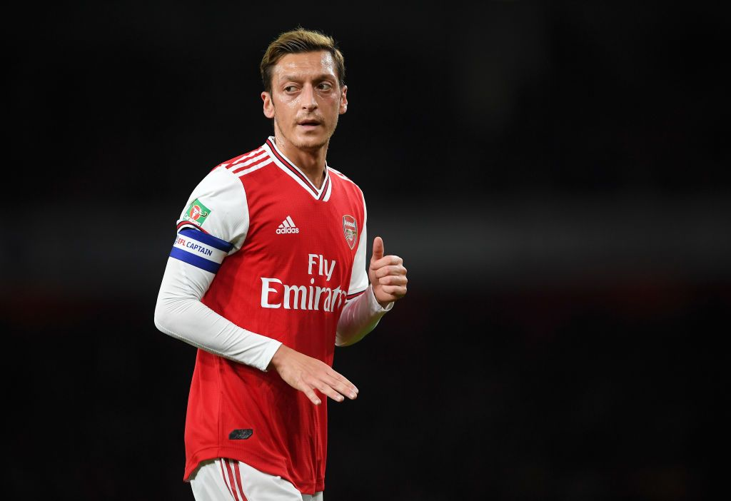 LONDON, ENGLAND - SEPTEMBER 24: Mesut Ozil of Arsenal looks on during the Carabao Cup Third Round match between Arsenal and Nottingham Forest at Emirates Stadium on September 24, 2019 in London, England. (Photo by Laurence Griffiths/Getty Images)
