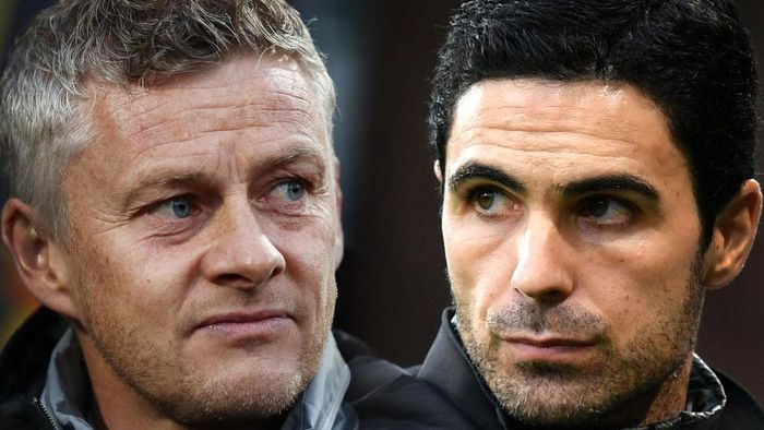FILE PHOTO (EDITORS NOTE: COMPOSITE OF IMAGES - Image numbers 1178800802,1196064545 - GRADIENT ADDED) In this composite image a comparison has been made between Ole Gunnar Solskjaer, Manager of Manchester United (L) and  Mikel Arteta, Manager of Arsenal. Arsenal FC and Manchester United meet on January 1,2020 in a Premier League fixture at the Emirates Stadium in London,England.   ***LEFT IMAGE*** THE HAGUE, NETHERLANDS - OCTOBER 03: Ole Gunnar Solskjaer, Manager of Manchester United looks on prior to the UEFA Europa League group L match between AZ Alkmaar and Manchester United at ADO Den Haag on October 03, 2019 in The Hague, Netherlands. (Photo by Bryn Lennon/Getty Images) ***RIGHT IMAGE***  BOURNEMOUTH, ENGLAND - DECEMBER 26: Mikel Arteta, Manager of Arsenal looks on during the Premier League match between AFC Bournemouth and Arsenal FC at Vitality Stadium on December 26, 2019 in Bournemouth, United Kingdom. (Photo by Dan Mullan/Getty Images)