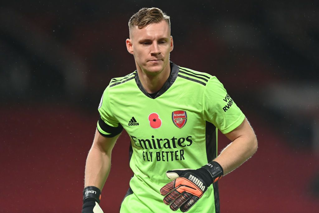 MANCHESTER, ENGLAND - NOVEMBER 01: Bernd Leno of Arsenal looks on where a commemorative poppy can be seen on his shirt to mark Armistice Day during the Premier League match between Manchester United and Arsenal at Old Trafford on November 01, 2020 in Manchester, England. Sporting stadiums around the UK remain under strict restrictions due to the Coronavirus Pandemic as Government social distancing laws prohibit fans inside venues resulting in games being played behind closed doors. (Photo by Shaun Botterill/Getty Images)