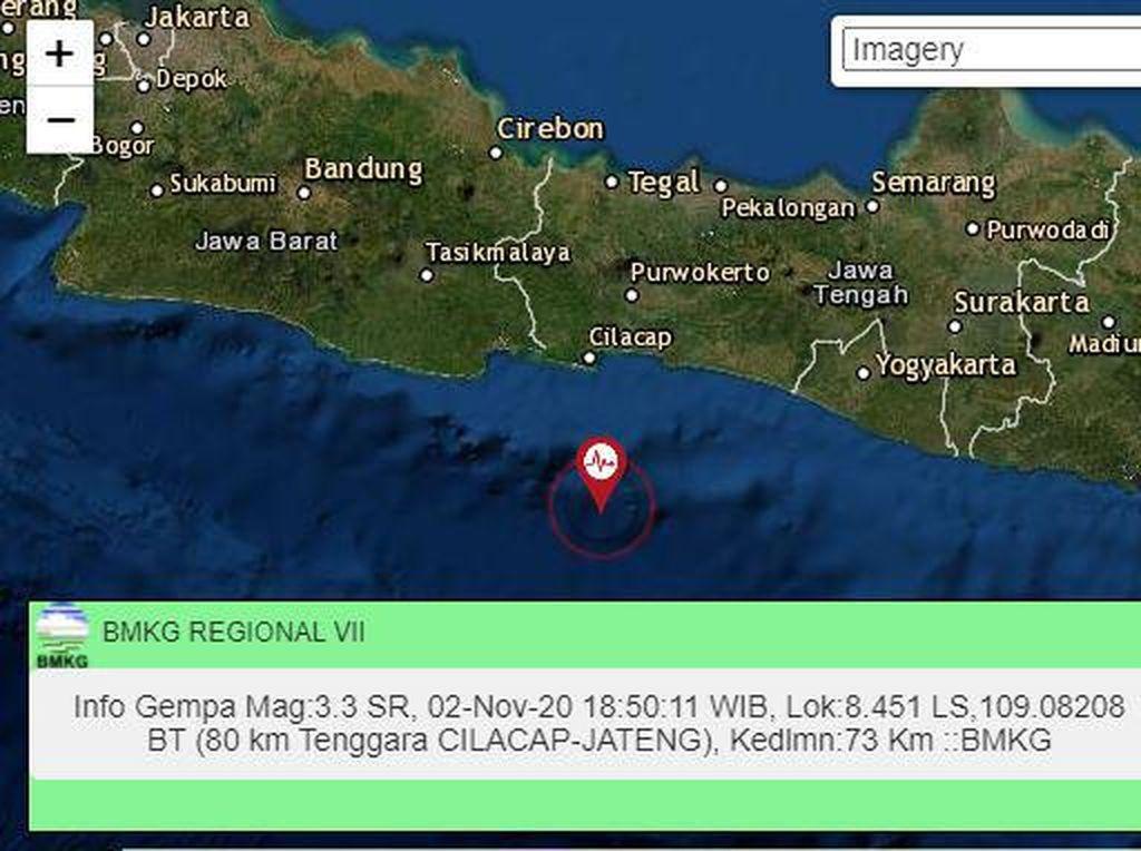 Gempa M 3,3 Terjadi di Cilacap