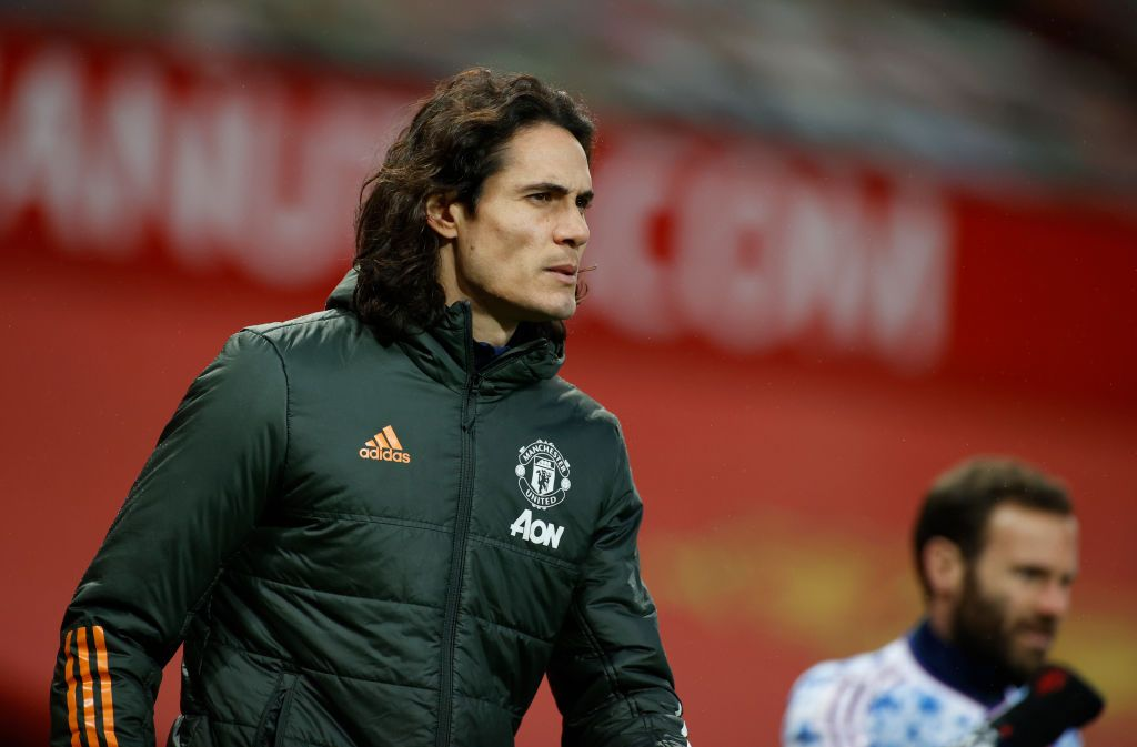 MANCHESTER, ENGLAND - NOVEMBER 01: Edinson Cavani of Manchester United looks on prior to the Premier League match between Manchester United and Arsenal at Old Trafford on November 01, 2020 in Manchester, England. Sporting stadiums around the UK remain under strict restrictions due to the Coronavirus Pandemic as Government social distancing laws prohibit fans inside venues resulting in games being played behind closed doors. (Photo by Phil Noble - Pool/Getty Images)