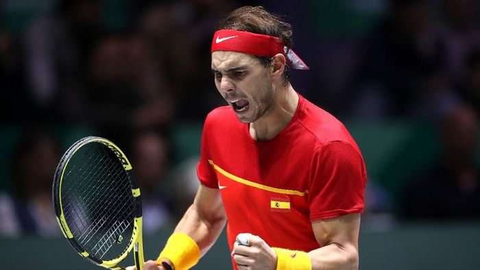 MADRID, SPAIN - NOVEMBER 24: Rafael Nadal of Spain celebrates in his match against Denis Shapovalov of Canada  in the Final between Spain and Canada during Day Seven of the 2019 David Cup at La Caja Magica on November 24, 2019 in Madrid, Spain. (Photo by Alex Pantling/Getty Images)