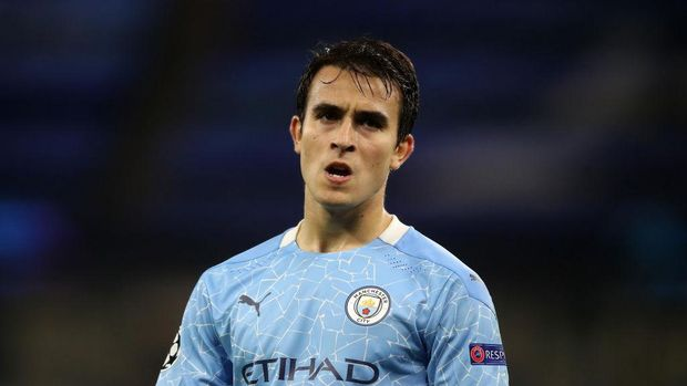 MANCHESTER, ENGLAND - OCTOBER 21: Eric Garcia of Manchester City reacts during the UEFA Champions League Group C stage match between Manchester City and FC Porto at Etihad Stadium on October 21, 2020 in Manchester, England. Sporting stadiums around the UK remain under strict restrictions due to the Coronavirus Pandemic as Government social distancing laws prohibit fans inside venues resulting in games being played behind closed doors. (Photo by Martin Rickett - Pool/Getty Images)