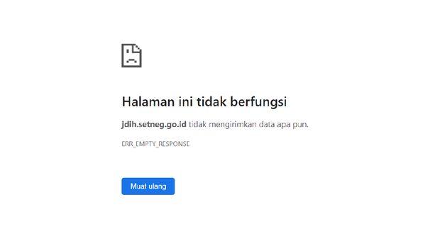 Situs JDIH Setneg Lumpuh