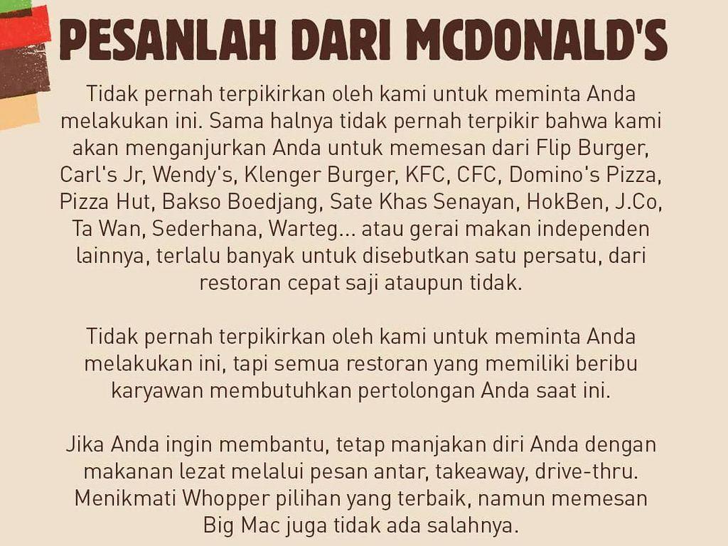 Burger King Minta Pelanggan Beli Makanan di McDonalds dan Warteg