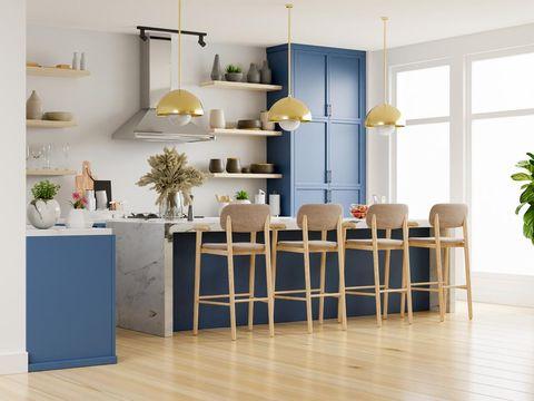 Modern kitchen interior with furniture.Stylish kitchen interior with white wall.3D Rendering