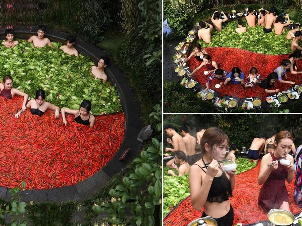 Wow! Pemandian Air Panas Tema Hot Pot Ini Isinya Cabai hingga Selada