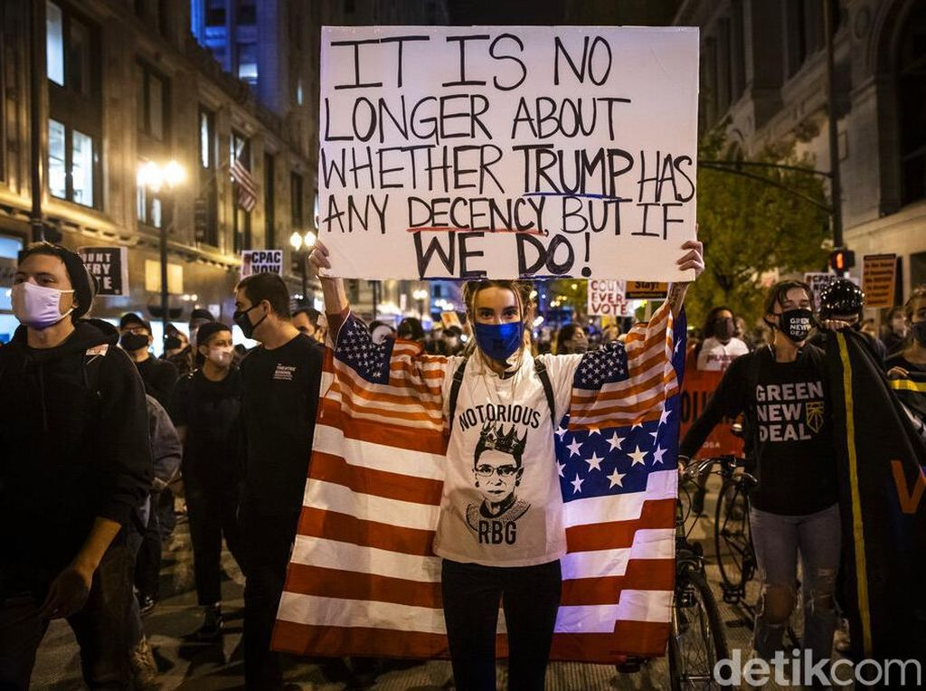 Aksi Demo Warnai Pascapemilu Pilpres di Amerika