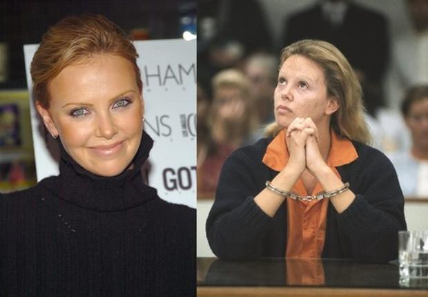Berkat tangan sang MUA, wajah cantik Charlize Theron berubah menjadi seorang yang lebih berantakan dan terlihat lebih tua.