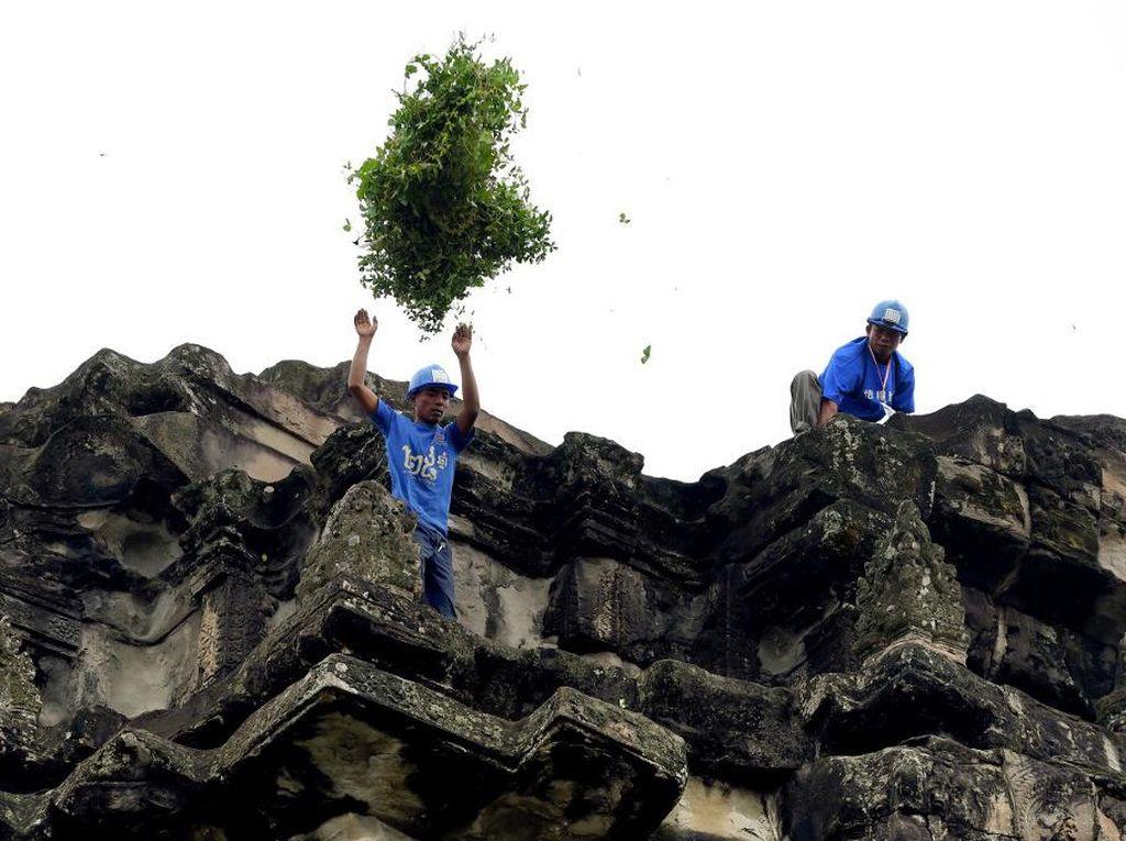 Petugas Bersih-bersih di Angkor Wat: Tanpa Alas Kaki, Tanpa Pengaman