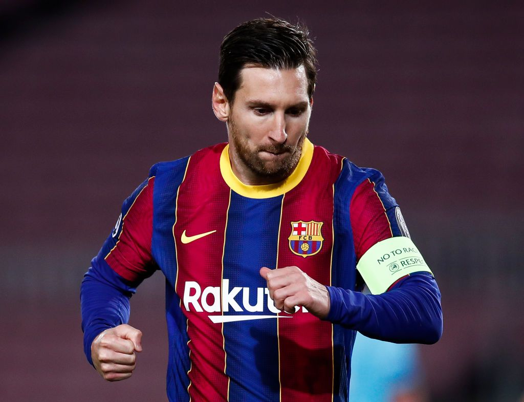 BARCELONA, SPAIN - NOVEMBER 04: Lionel Messi of Barcelona celebrates after scoring his sides first goal from the penalty spot during the UEFA Champions League Group G stage match between FC Barcelona and Dynamo Kyiv at Camp Nou on November 04, 2020 in Barcelona, Spain. Sporting stadiums around Spain remain under strict restrictions due to the Coronavirus Pandemic as Government social distancing laws prohibit fans inside venues resulting in games being played behind closed doors. (Photo by Eric Alonso/Getty Images)
