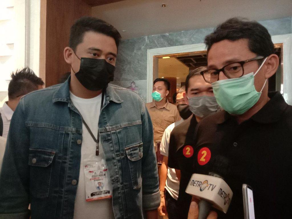 Sandiaga Antar Bobby ke Lokasi Debat Perdana Pilkada Medan