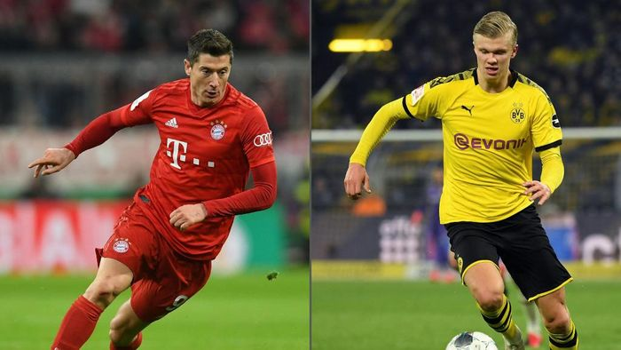 (COMBO) This combination created on May 25, 2020 of file pictures shows Bayern Munichs Polish striker Robert Lewandowski (L, during the German Cup (DFB Pokal) round of 16 football match FC Bayern Munich v TSG 1899 Hoffenheim in Munich, southern German on February 5, 2020) and  Dortmunds Norwegian forward Erling Braut Haaland (during the German first division Bundesliga football match BVB Borussia Dortmund vs Eintracht Frankfurt, in Dortmund, western Germany on February 14, 2020). - The Bundesligas record-breaking strikers square off on Tuesday, May 26, 2020, when Bayern Munich veteran Robert Lewandowski opposes Borussia Dortmund teenager Erling Braut Haaland in the German league showdown behind locked doors. (Photos by Christof STACHE and INA FASSBENDER / AFP) / DFB REGULATIONS PROHIBIT ANY USE OF PHOTOGRAPHS AS IMAGE SEQUENCES AND QUASI-VIDEO.