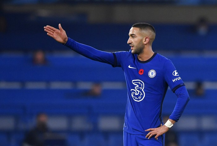 Chelseas Hakim Ziyech reacts during the English Premier League soccer match between Chelsea and Sheffield United at Stamford Bridge Stadium in London, Saturday, Nov. 7, 2020. (Ben Stansall/Pool via AP)