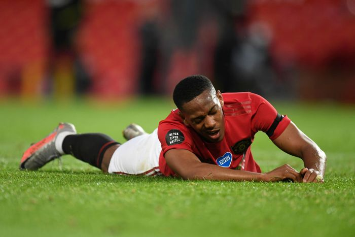 MANCHESTER, ENGLAND - JULY 13: Anthony Martial of Manchester United reacts during the Premier League match between Manchester United and Southampton FC at Old Trafford on July 13, 2020 in Manchester, England. Football Stadiums around Europe remain empty due to the Coronavirus Pandemic as Government social distancing laws prohibit fans inside venues resulting in all fixtures being played behind closed doors. (Photo by Peter Powell/Pool via Getty Images)