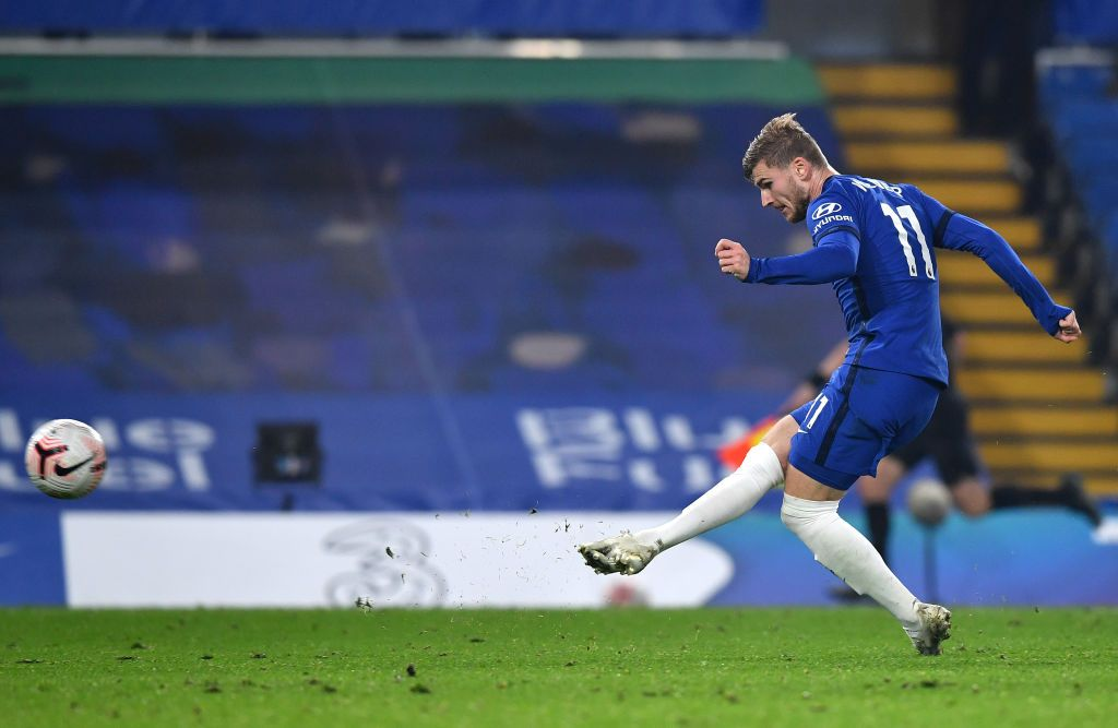 LONDON, ENGLAND - NOVEMBER 07: Timo Werner of Chelsea scores his team's fourth goal during the Premier League match between Chelsea and Sheffield United at Stamford Bridge on November 07, 2020 in London, England. Sporting stadiums around the UK remain under strict restrictions due to the Coronavirus Pandemic as Government social distancing laws prohibit fans inside venues resulting in games being played behind closed doors. (Photo by Ben Stansall - Pool/Getty Images)