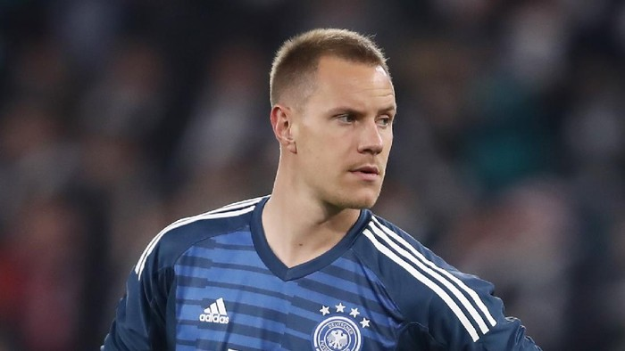 WOLFSBURG, GERMANY - MARCH 20: Goalkeeper Marc-Andre ter Stegen of Germany reacts during the International Friendly match between Germany and Serbia at Volkswagen Arena on March 20, 2019 in Wolfsburg, Germany. (Photo by Alex Grimm/Getty Images)