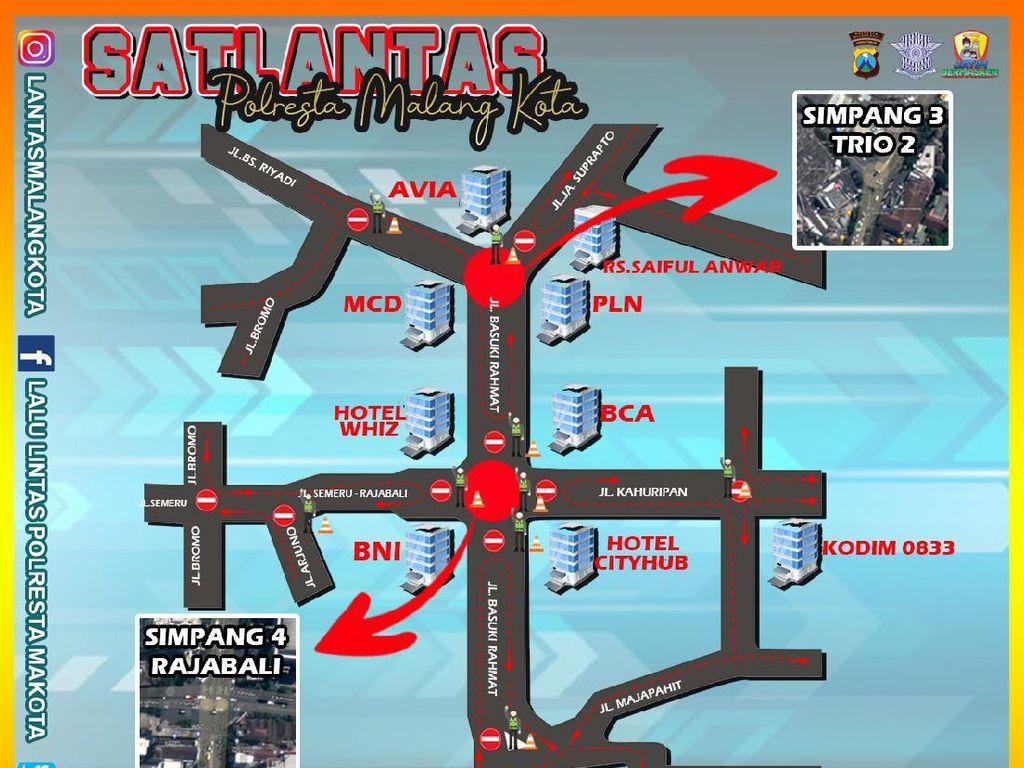 Catat, Ini Rekayasa Lalin Imbas Pembangunan Koridor Kayutangan Kota Malang
