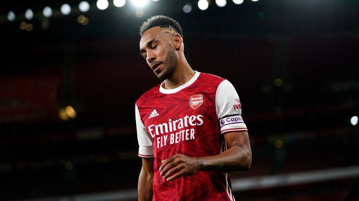 LONDON, ENGLAND - SEPTEMBER 19: Pierre-Emerick Aubameyang of Arsenal reacts during the Premier League match between Arsenal and West Ham United at Emirates Stadium on September 19, 2020 in London, England. (Photo by Will Oliver - Pool/Getty Images)