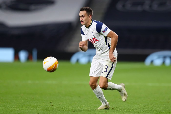 LONDON, ENGLAND - OCTOBER 22: Sergio Reguilon of Tottenham Hotspur  during the UEFA Europa League Group J stage match between Tottenham Hotspur and LASK at Tottenham Hotspur Stadium on October 22, 2020 in London, England. Sporting stadiums around the UK remain under strict restrictions due to the Coronavirus Pandemic as Government social distancing laws prohibit fans inside venues resulting in games being played behind closed doors. (Photo by Catherine Ivill/Getty Images)