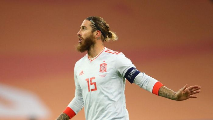 AMSTERDAM, NETHERLANDS - NOVEMBER 11: Sergio Ramos of Spain reacts during the international friendly match between Netherlands and Spain at Johan Cruijff Arena on November 11, 2020 in Amsterdam, Netherlands. Sporting stadiums around Netherlands remain under strict restrictions due to the Coronavirus Pandemic as Government social distancing laws prohibit fans inside venues resulting in games being played behind closed doors. (Photo by Dean Mouhtaropoulos/Getty Images)