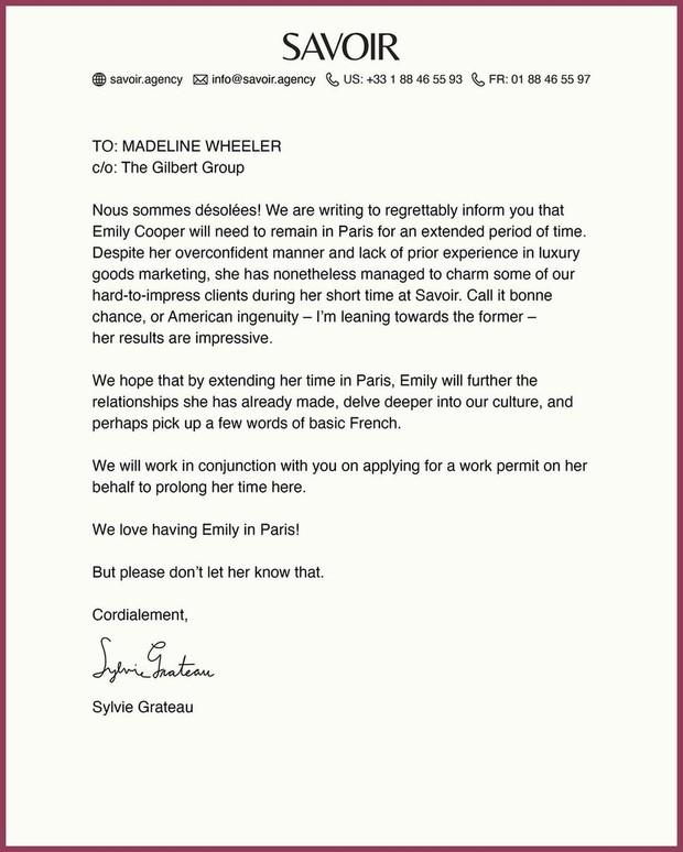 Selain membagikan video, Netflix juga mengunggah catatan unik yang ditulis oleh Sylvie Grateau, yang merupakan bos di perusahaan Emily.