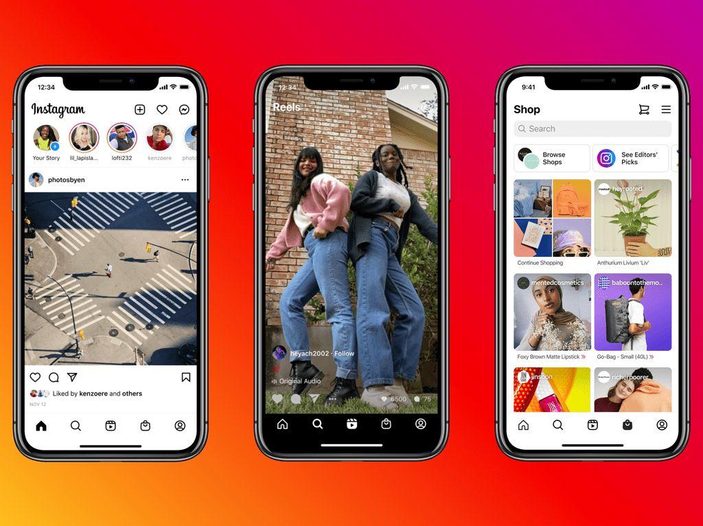 Desain Instagram Dipermak dengan Tombol Reels dan Shop