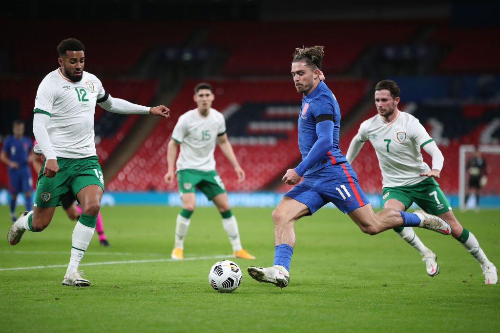 LONDON, ENGLAND - NOVEMBER 12: Jack Grealish of England looks to break past Shane Duffy of Republic of Ireland  during the international friendly match between England and the Republic of Ireland at Wembley Stadium on November 12, 2020 in London, England. Sporting stadiums around the UK remain under strict restrictions due to the Coronavirus Pandemic as Government social distancing laws prohibit fans inside venues resulting in games being played behind closed doors. (Photo by Nick Potts -