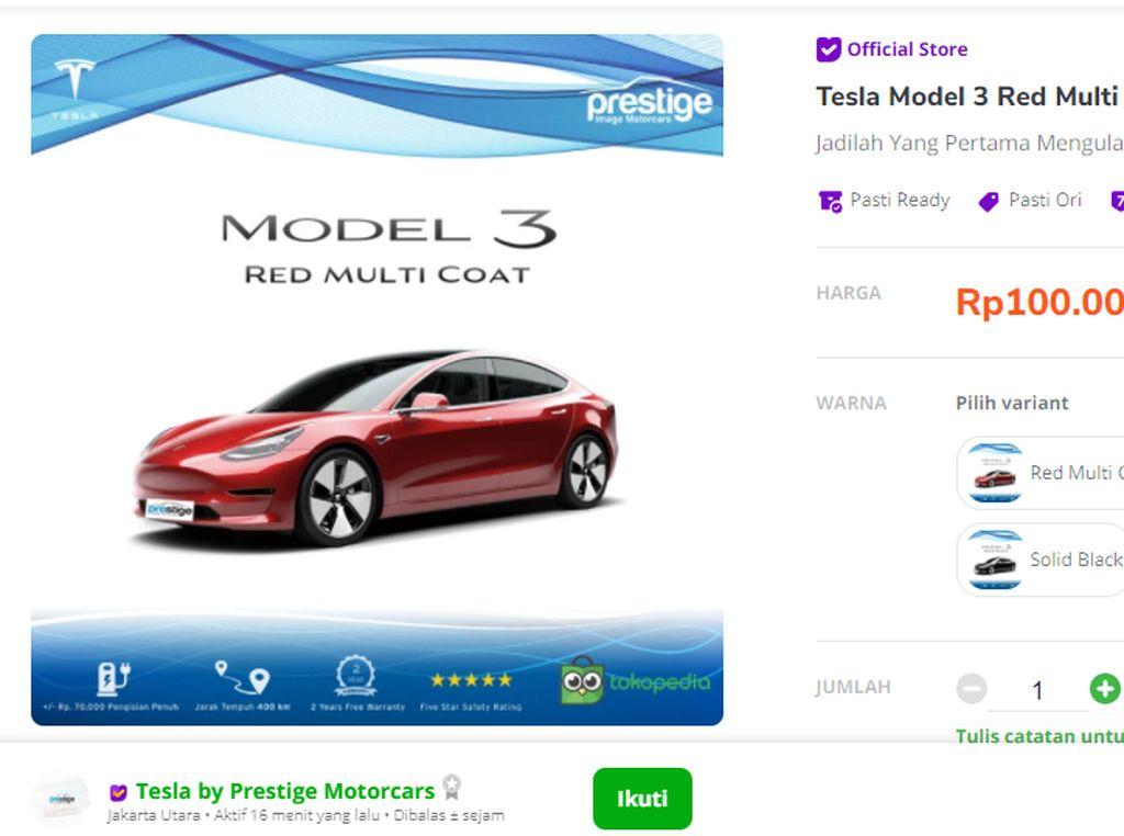 Jam 3 Pagi Gak Bisa Tidur, Crazy Rich Medan Iseng Beli Tesla Rp 1,5 M di Tokopedia