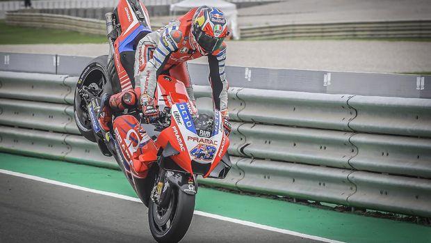 Jack Miller pada babak kualifkasi MotoGP Valencia 2020.