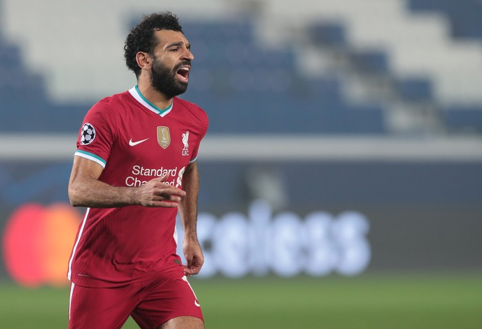 BERGAMO, ITALY - NOVEMBER 03:  Mohamed Salah of Liverpool FC shouts during the UEFA Champions League Group D stage match between Atalanta BC and Liverpool FC at Gewiss Stadium on November 03, 2020 in Bergamo, Italy. (Photo by Emilio Andreoli/Getty Images)