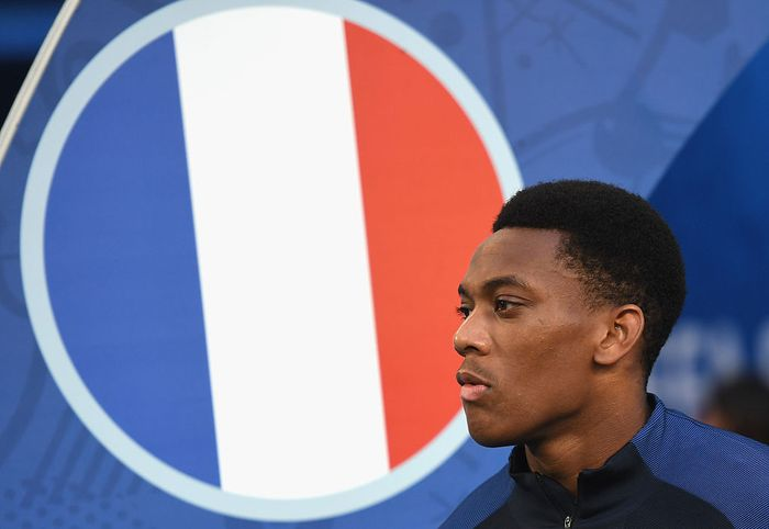 MARSEILLE, FRANCE - JULY 07: Anthony Martial of France looks on during the UEFA EURO semi final match between Germany and France at Stade Velodrome on July 7, 2016 in Marseille, France.  (Photo by Michael Regan/Getty Images)