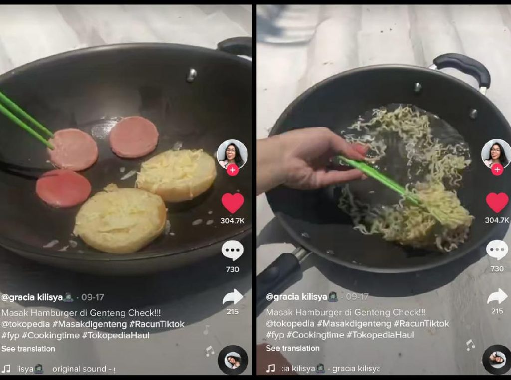 Netizen Hobi Masak di Genteng, Bikin Burger hingga Mie Goreng